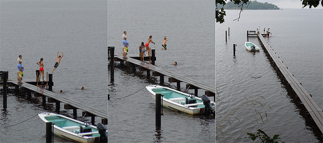 Swimming and diving off the docks