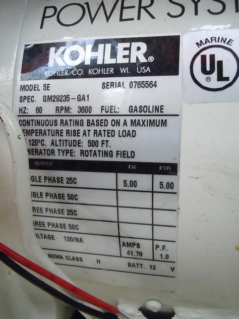 The Kohler 5E nameplate