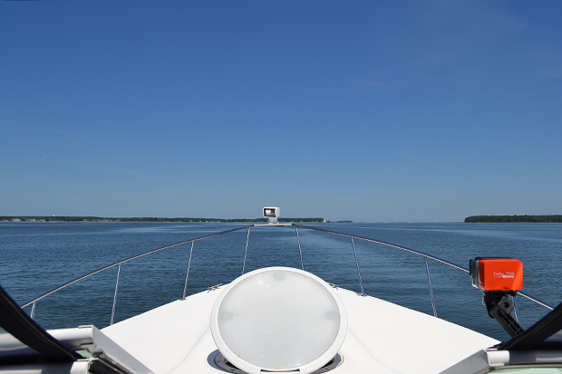 The weekend's weather finally turned out like predictions, allowing the Rose to enjoy her quick trip back home Sunday around noon.  Our peaceful anchorage became crowded by our departure anyways, allowing us to enjoy spectacular water headed north through Eastern Bay, 01JUN14