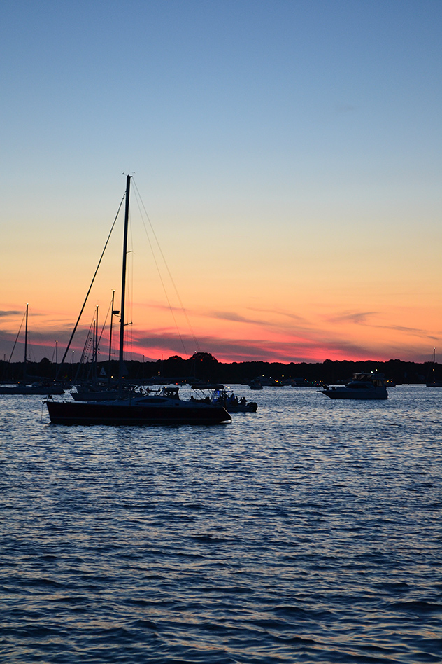 Waiting in St. Michaels' harbor for the fireworks to start, easily 200-boats anchored for the show, 05JUL14