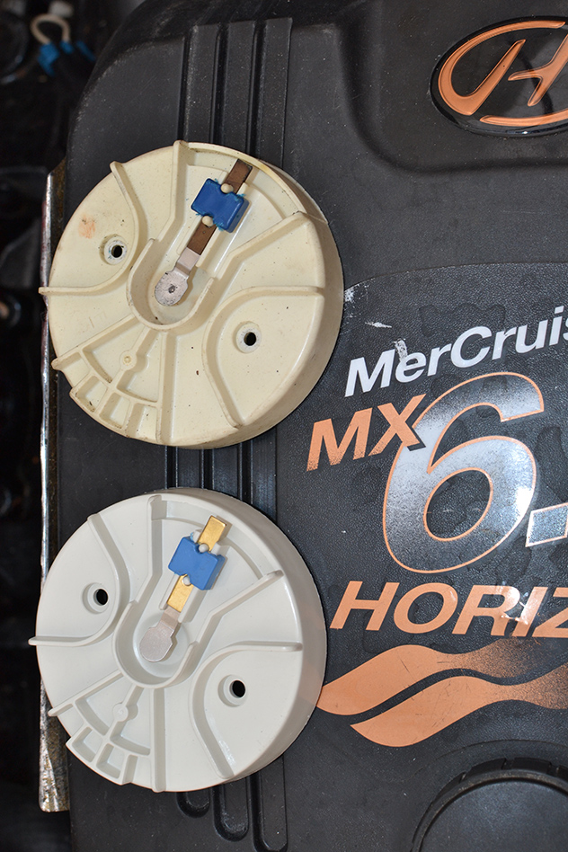 Installed new rotors for both engines; 2-season old (obviously) shown at top, 28MAR15