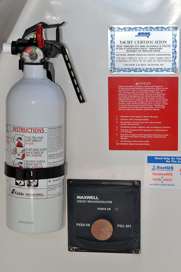 Yea! New extinguisher installed at the helm, that makes a total of 4 extinguishers within arm's reach! 30MAY15