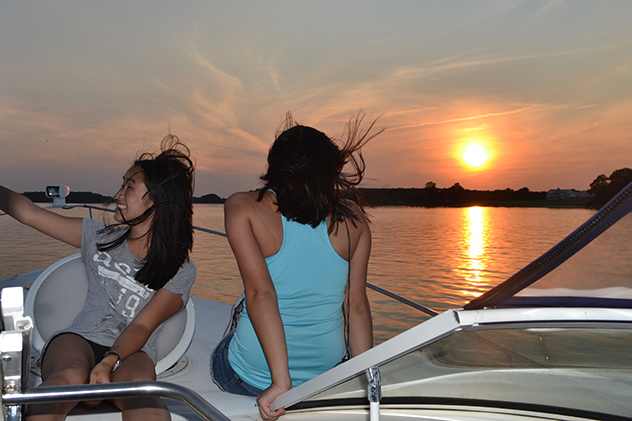The girls enjoying a perfect evening on the Choptank while underway, 05AUG15