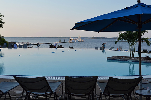 The Hyatt's infinity pool as the sun set our first evening at the marina, what a beautiful view of the Rivermarsh inlet! 03AUG15