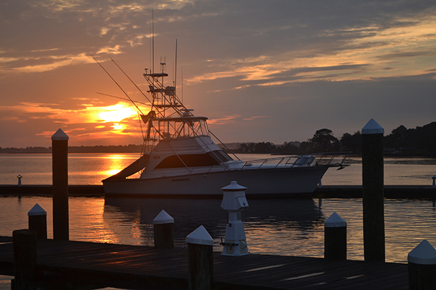 Sunrise over the Choptank, an Ocean Yachts is still asleep as Christina's Captain prepares for another round at River Marsh! 05AUG15