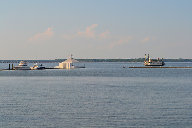 The Choptank River Cruise's paddle-wheel lands at the Rivermarsh Marina's gazebo in the evening, it starts up in Hurlock at the Suicide Bridge Restaurant.  04AUG15