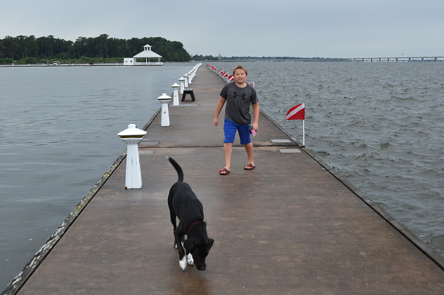 The First and Second Mates play on the Rivermarsh Marina's outer (floating) breakwall.  Though a less-fair day than the rest, it's still great to be on the water.  07AUG15