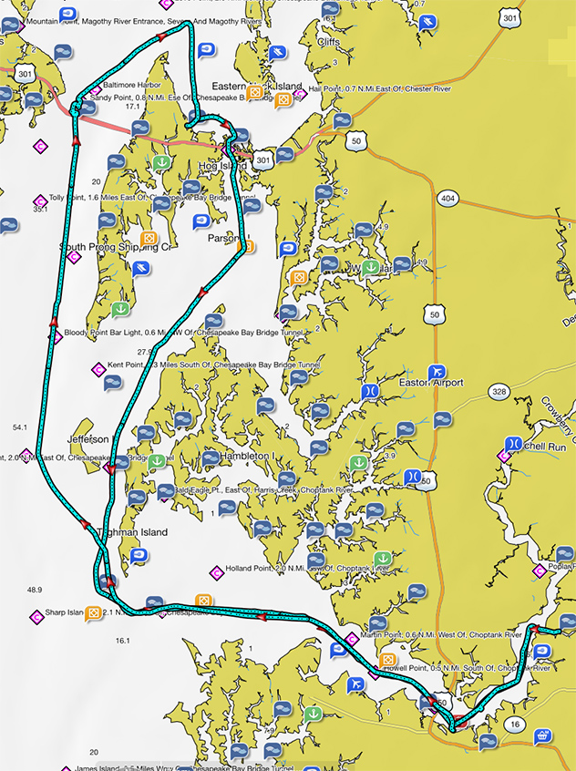 Our cruising tracks over our week-long excursion, 107nm total under-keel... the Chesapeake is an awesome place to boat