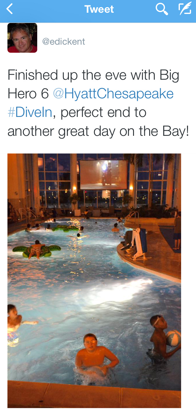 """The First Mate finishes the day like all the other nights, at the Hyatt's """"Dive-In"""" movie, Friday evening Tweet 07AUG15"""
