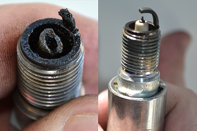 A quick check of the spark-plugs of the port-engine after last weekend's breakdown in Chestertown quickly found things are more serious than once anticipated... the plug on the left is from the #8-cylinder.  12OCT15
